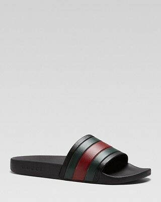 5ab33a221 Gucci Pursuit 72 black multi 10 rubber signature stripe slide UK9 sandal  shoe.