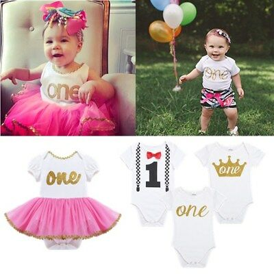 Baby Boy Girl 1st Birthday Crown Tutu Dress Romper Bodysuit Party Clothes Outfit
