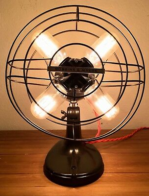 Vintage Robbins & Myers Table Fan Lamp Industrial Mcm Steampunk Edison 15""