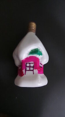 Antique Figural CHRISTMAS LIGHT Snow Covered Cottage, Non-Working