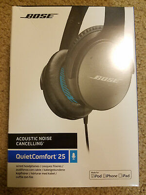 318d2616d44 NEW Bose QuietComfort 25 QC25 APPLE Noise Cancelling Headphones Black SEALED