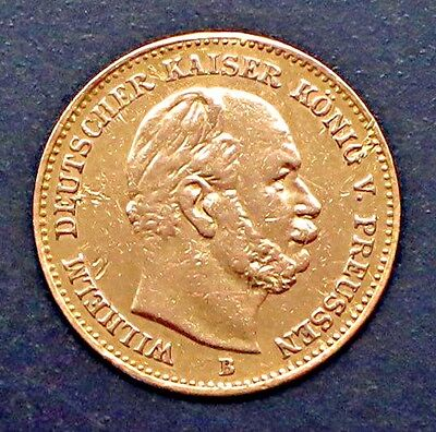 "1877-B German States PRUSSIA - 5 MARK GOLD COIN -""XF"" - KM #507"