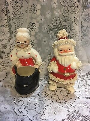 Vintage Napco Pottery 6 1/2 in. Mr And Mrs Claus