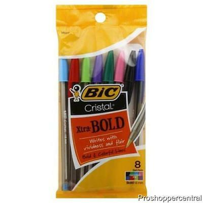 NEW  Bic Cristal Xtra-Bold 1.6 mm Ball Point Pen-Bold & Colorful!-8 Pack