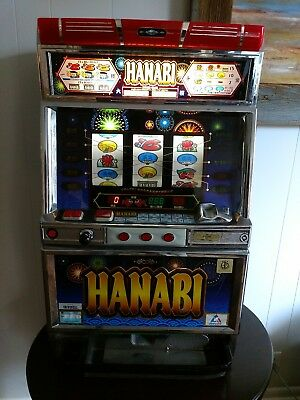 "Japanese ""Hanabi""  Pachislo Slot Machine with tokens and key"