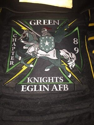 Green Knights motorcycle club biker vest patches