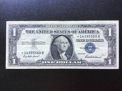 """1957 US $1.00 """"Silver Certificate""""  Star note."""