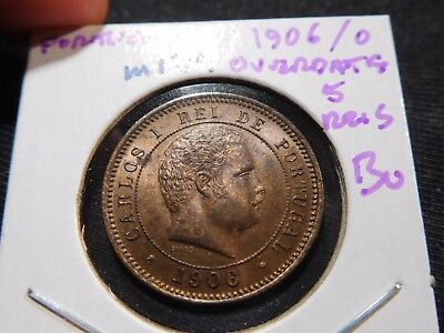 INV #M179 Portugal 1906/0 Overdate 5 Reis BU Mintage of Only 1260!