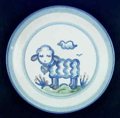 M A Hadley COUNTRY SCENE BLUE Lamb Salad Dessert Plate 5757644