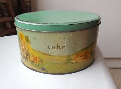 1950's Vintage Country Kitchen Willow Cake Tin/Canister. Made in Australia