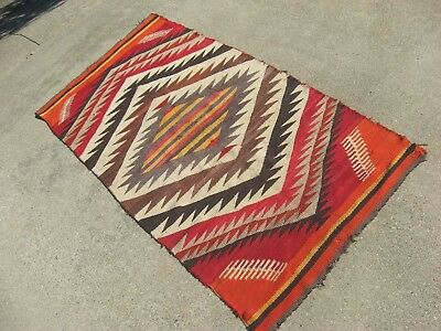 ANTIQUE NAVAJO Native American Indian Blanket Rug CHURRO TRANSITIONAL EYEDAZZLER