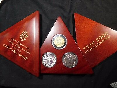 Italy 2000 New Millenium 0.457 Oz GOLD, 1 Oz. Silver, 1 Oz. Titanium Proof Set