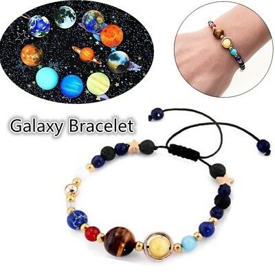 Universe Natural Stone Beads Galaxy Planets Solar System Bracelet Bangle Gifts