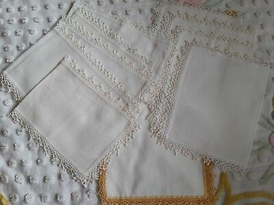 Vintage 10 Piece Rectangular Cotton Doilies Ivory Crochet Edging XLNT!