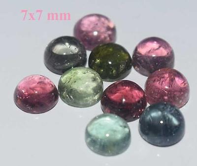 AAA Quality 10 Pc Natural Multi Tourmaline 7x7 MM Round Cabochon Loose Gemstone