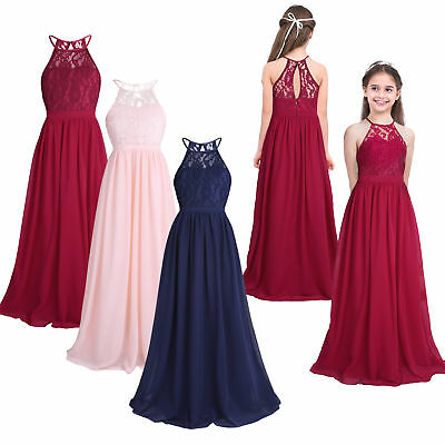 Kids Girls Flower Halter Lace Princess Dress Wedding Party Prom Ball Bridesmaid