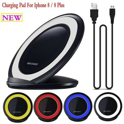 Portable Qi Wireless Power Save Charger Charging Pad For Iphone 8 / 8 Plus