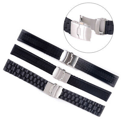 20-24mm in gomma impermeabile in silicone Watch Band Strap Buckle Deployment