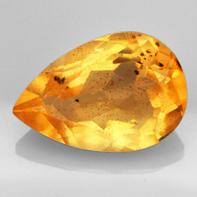 13.45CT Baltic Golden Amber With Insect Faceted Pear Cut Natural UQFP157