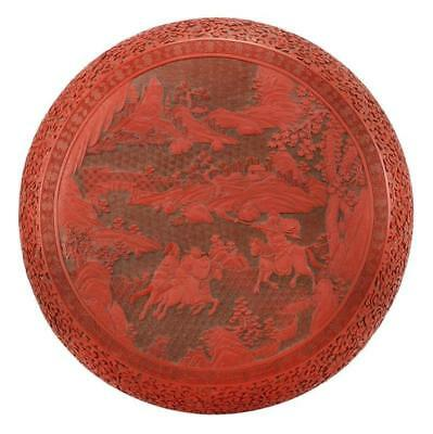 CHINESE CINNABAR COVERED BOX In circular form with red relief design ... Lot 305