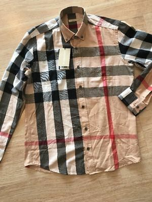 BURBERRY BRIT PARADE RED MEN CASUAL SHIRT BRAND NEW Size M-2XL Free Shipping