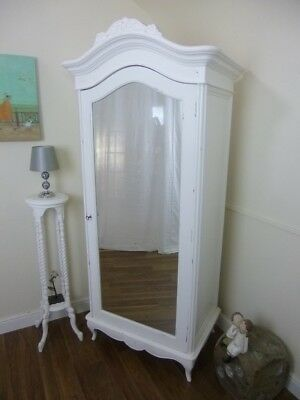 Single French Charroux Armoire In White - Handmade Single Wardrobe