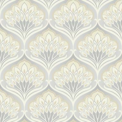 A Shade Wilder Pavonis Feather Wallpaper Damask Grey Cream - Mothball 300080