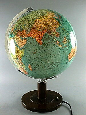 "VINTAGE WORLD GLOBE COLUMBUS BERLIN THICK GLASS ILLUMINATED LAMP DESK LIGHT 14""i"