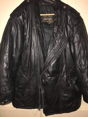 008748551 VINTAGE DOUBLE GOOSE Country Leather Puffa Jacket Puffer 1980's ...