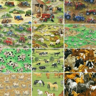 100% Cotton Fabric Nutex Farm Animals In the Country Sheep Pig Horse Tractors