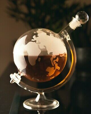NEW Glass World Globe Decanter Vodka Whisky 700ml Wine Carafe Fathers Day Gift