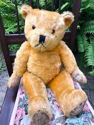 Rare Antique Vintage LINDEE TEDDY BEAR Big Large Toy Jointed Mohair Australian