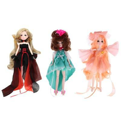 Set of 3pcs 30 Joints Dressed Vinyl Body Doll Flexible Ball Jointed Doll Toy