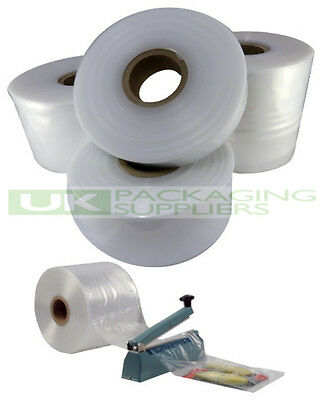 "1 SMALL ROLL OF 4"" CLEAR LAYFLAT TUBING 500gauge POLYTHENE PLASTIC 168 METRES"