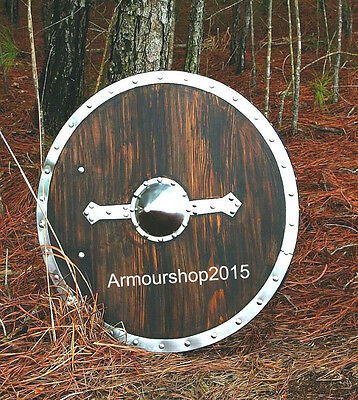 Viking Shield - Brown - Full Size Replica Medieval Wooden Shield