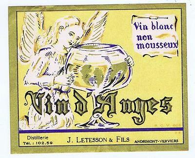 Vin d'anyes angel Letesson, Anreimont-Verviers antique french wine label #58