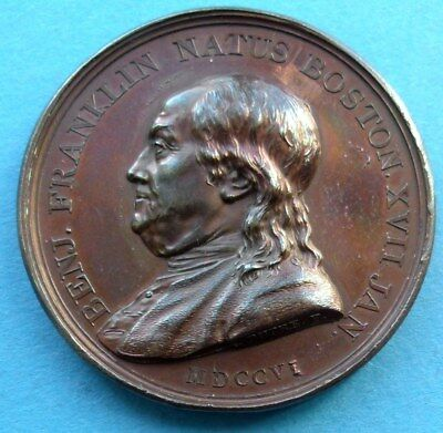 ! USA UNITED STATES FRANCE MEDAILLE 1786 by DUPRE BENJAMIN FRANKLIN 80th RRR !!
