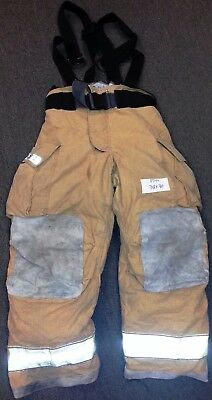 38x30 Pants & Suspenders Firefighter Turnout Bunker Fire Gear Globe Gxtreme P744