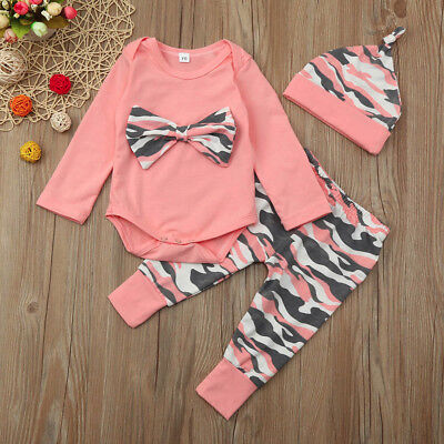 Infant Toddler Baby Girls T Shirt + Camoufalge Pants Romper Outfits Set Clothes