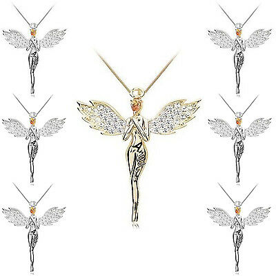 Guardian Angel Crystals Pendant Necklace Silver Gold Plated Swarovski ElementsUK