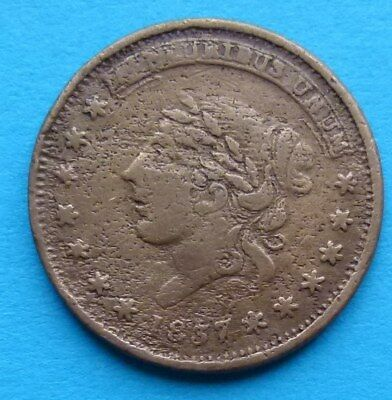 ! Usa United States Large Cent Token 1837 Not One Cent For Tribute Millions ...