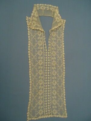 True Antique Victorian tulle lace collar bodice overlay jabot AS IS
