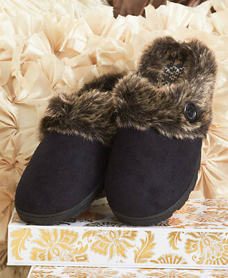 The Lakeside Collection Black Memory Foam Slippers -