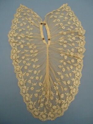 True Antique Victorian tulle lace jabot AS IS