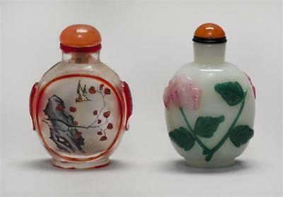TWO CHINESE GLASS SNUFF BOTTLES 1) Milk glass in ovoid form. With ove... Lot 530