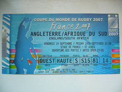 England V South Africa Rugby Union 2007 World Cup Ticket Stub Memorabilia