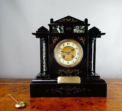 Antique Victorian Mantel Clock Black Slate & Marble by Samuel Marti Paris c1890