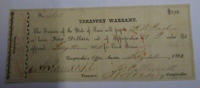 1862 State of Texas $5 Treasury Warrant Five Dollars Austin