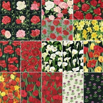 100% Cotton Fabric Floral Flower Collections Roses, Poppies Lily Patchwork