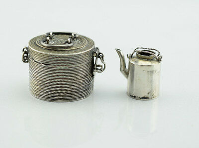 Chinese Export Sterling Silver Miniature Fish Basket with Tea Pot